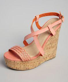 Look at this #zulilyfind! Coral Braided Toe Wedge Sandal #zulilyfinds