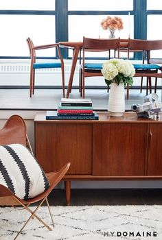 Rebecca Minkoff's open living space with midcentury modern furniture