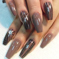 "I love these nails, minus the rhinestone. ROD STAR OF BOSS NAILS on Instagram: ""#bossnails #coffin #nails #nailart #nailpolish #teamrod"""