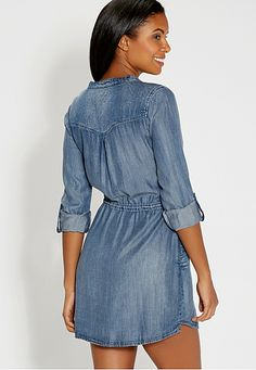 chambray shirtdress with tie waist - maurices.com