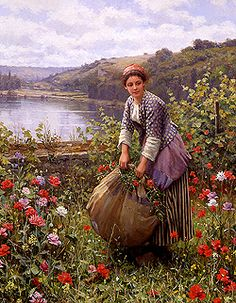 The Grass Cutter by Daniel Ridgway Knight - 32 x 26 inches Signed and inscribed Paris paris salon french academic genre rolleboise women in gardens figures figurative flowers