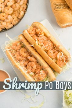 Shrimp Po Boys are the ultimate sandwich for seafood lovers! Tender shrimp drizzled with creamy, spicy sauce topped with crunchy cabbage on a soft roll. #shrimp #shrimpsandwich #shrimppoboy #seafoodsandwich #FavoriteFamilyRecipes Shrimp Dishes, Shrimp Recipes, Fish Recipes, Sandwich Recipes, Shrimp Po Boy, Cajun Shrimp, Cajun Food, Brunch Recipes, Dinner Recipes