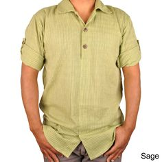 This casual button shirt for men provides just the right mix of comfort and style. Durably crafted from 100 percent cotton and featuring a contemporary design with a Chinese collar, this shirt provides a versatile addition to any wardrobe.