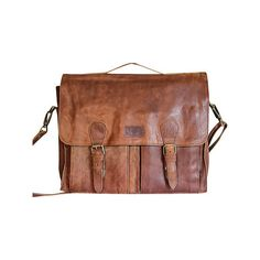 SHARO Genuine Leather Bags Computer Messenger Brief Bag - Brown ($140) ❤ liked on Polyvore featuring bags, messenger bags, brown, real leather bag, brown messenger bag, courier bag, brown laptop bag and messenger bag