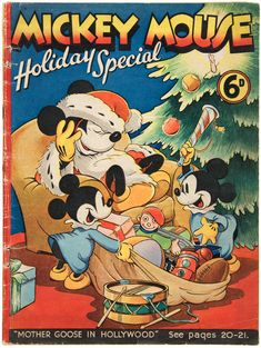 This 64-page Mickey Mouse Holiday Special is a British publication copyrighted 1938-39. #Christmas #Disney #Vintage