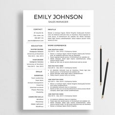 Professional CV Template | Two Page Resume + Cover Letter + Advice ...