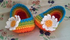Crochet Baby Slippers/Booties Rainbow with Daisy - pattern pdf 15