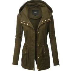 LE3NO Womens Olive Anorak Military Hoodie Jacket ($38) ❤ liked on Polyvore featuring outerwear, jackets, anorak coat, green military style jacket, brown jacket, olive military jacket and military anorak