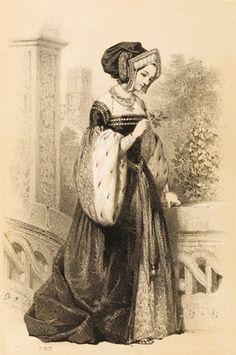 Sepia drawing of Anne Boleyn by Jules David