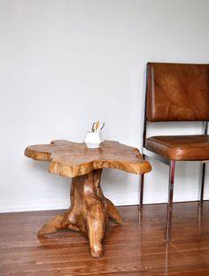 Vintage Live Edge Side Table / Wood Slab Table