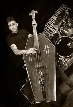 Kim Nekroman of Nekromantix and his infamous bass are a sight to behold live!!