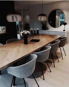 Furniture Ideas 48 Elegant Modern Dining Table Design Ideas Your Reference Guide To Caring For A Bab Dining Room Table Decor, Dining Table Design, Modern Dining Table, Dining Room Lighting, Coffee Table Design, Dining Room Furniture, Living Room Decor, Dining Chairs, Decor Room