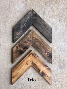 Wall Art 3 Piece Chevron Rustic Unique Home Décor Wooden