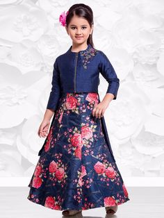 Navy Silk Printed Choli Suit Kids Frocks, Frocks For Girls, Girls Pageant Dresses, Little Girl Dresses, Kids Lehenga Choli, Kids Indian Wear, Kids Dress Patterns, Kids Gown, Frock Design