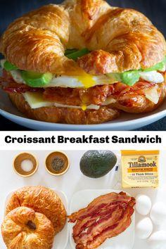 Croissant Breakfast Sandwich, Breakfast Sandwich Recipes, Delicious Breakfast Recipes, Brunch Recipes, Gourmet Recipes, Cooking Recipes, Delicious Food, Yummy Recipes, Breakfast Time