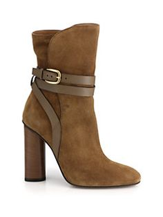 Gucci - Leather-Strap Suede Booties