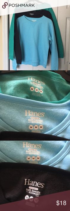 Bundle of Hanes sweatshirts Super soft. Black. Blue. Green. All like new condition. Please do not bundle with other heavy items!  (GV) Hanes Tops Sweatshirts & Hoodies