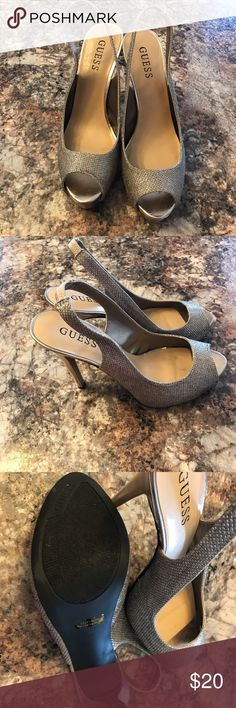 Beautiful Guess Heels! Gorgeous soft gold tall Guess heels! Worn less than once. Sparkly peep toe with a sling back. Perfect for any formal or to add a sexy pop to your going out outfit! Guess Shoes Heels