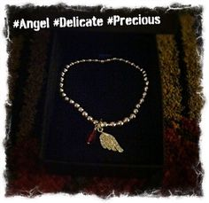 Silver Plated Red Angel Wing Beaded Crystal Bracelet