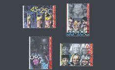 """De kinderpostzegels uit 1981 met het thema """"Kind en integratie"""". Ontwerp: S. Stolk"""
