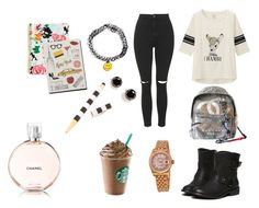 """""""school"""" by manugeral on Polyvore featuring Topshop, Uniqlo, Garance Doré, Rolex, Chanel, Henri Bendel and Kate Spade"""