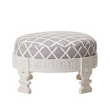 Looking for a round upholstered ottoman to go beside our clawfoot tub! Wouldn't this be gorgeous with a silver tray?