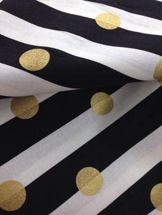 Item #NUR12221 Black & White w/Gold Dots| Fitted Crib Sheet| Changing Table Sheet | Alma Mini Sheet | Etsy Nursery Bedding| Crib Bedding by theNerdyOwlShop on Etsy https://www.etsy.com/listing/254498427/item-nur12221-black-white-wgold-dots