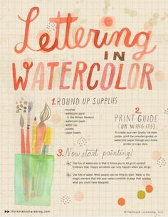Watercolor Hand Lettering via Think. Make. Share