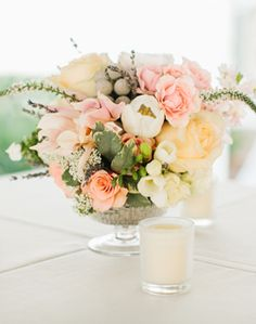 pretty peach and pale yellow with gray accents