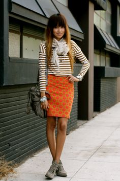 sincerely, Jules pattern maker (skirt: Anthropologie | tee: F21 | bag: All Saints | booties: Dolce Vita) #stripes #dots