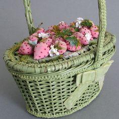 Vintage Painted Wicker PURSE Pink VELVET STRAWBERRIES & Blossoms + Velvet BOW