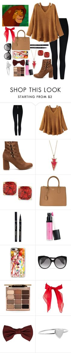"""""""Simba"""" by dreamingallday ❤ liked on Polyvore featuring WithChic, Helix & Felix, Kate Spade, Prada, Laura Geller, Casetify, Alexander McQueen, Stila, Lanvin and Jennifer Meyer Jewelry"""
