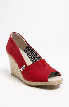 Super comfy summer wedge!!! TOMS 'Calypso' Canvas Wedge available at Nordstrom