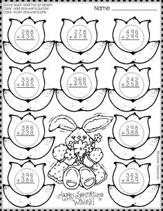 Spring Addition with Regrouping Color-by-Code Printables Need extra addition practice? Math Practice Worksheets, School Worksheets, Math Activities, Teaching Resources, Math Stations, Math Centers, Math Sheets, Material Didático, Math Practices