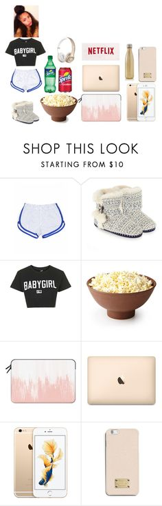 """""""Lazy Day with Netflix"""" by mbalipxoxo ❤ liked on Polyvore featuring Dukes, Accessorize, Illustrated People, Casetify, MICHAEL Michael Kors and S'well"""