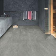 Lames PVC Quick Step Livyn Ambient Click plus, béton gris foncé Sol Pvc, Pvc Vinyl, Floor Design, Tile Floor, Flooring, House, Bathroom, Videos, Photos