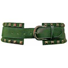 Dark Hunter Green Wide Elastic Cinch Belt With Pyramid Studs ($13) ❤ liked on Polyvore featuring accessories, belts, corset, green, waist cincher belt, nickel free belt, elastic cinch belt, pyramid belt and cinch belt