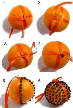 "Pomander ~ ""I make these every Holiday. They're easy fun to make; even with the kids! The clove-punchered oranges fill the room with a citrusy aroma you can imagine lasts a long time :) Add a ribbon if you wish; I hang 1 in every room! =o)"""