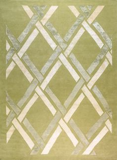 New Moon Rug   Links, Pale Ferns. This Lattice Design Features A Sage Green  Wool Background, And A Raised Pile Design In Ivory And Pale Blue Silk.