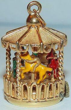 VINTAGE DANKER HUGE 14K GOLD MECHANICAL WIND UP MERRY GO ROUND BRACELET CHARM