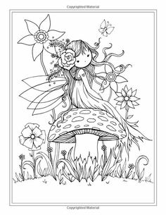Fairy Sitting on Mushroom - Printable Coloring Page - Whimsical, Floral, Cute - Molly Harrison Fanta Fairy Coloring Pages, Cool Coloring Pages, Printable Coloring Pages, Adult Coloring Pages, Coloring Pages For Kids, Coloring Sheets, Coloring Books, Illustration, Fairy Art