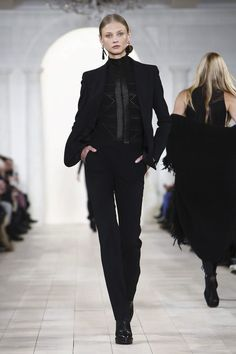 Ralph Lauren - Who says you have to wear a dress to be dressy? Wear this beautiful suit and top (or other dressy top) and you'll be the envy of all the women. #fw15 #nyfw