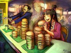 Eek! The bill for those burgers Maya Fey! Phoenix Wright