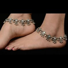 Bridal fashion silver plated anklets. Matching dresses, sari or for more variety visit kaneesha.com