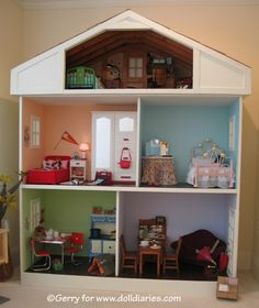 This is amazing.. it's big enough for American girl dolls and uses their furniture! So, combine this idea with the DIY doll houses out of old book shelves and so on.