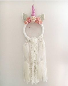 Calling all Unicorns lovers!!!! Unicorns are the thing right now and the cute and whimsical Nevaeh Unicorn Dream Catcher would be the perfect addition to any little girls space! These catchers are made to order and are completely customizable; view our horn colour options in the