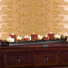 I change mine with each season!   Scroll Works Big Fork Lodge Candle Tray