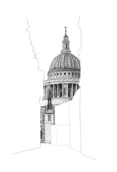 St paul's cathedral from the city architectural print Building Drawing, Architectural Prints, Pineapple Images, A Level Art, Fine Art Paper, Architecture Art, Cathedral, Poster, London