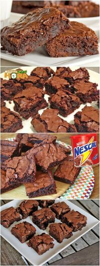 Receita de Brownie Fácil com Nescau - Receita Toda Hora - Brownie Fácil com Nescau Source by meninaallstars - Brownie Recipes, Dessert Recipes, Gourmet Desserts, Plated Desserts, Food Porn, Good Food, Yummy Food, Chocolate Chip Cookie Dough, Chocolate Desserts