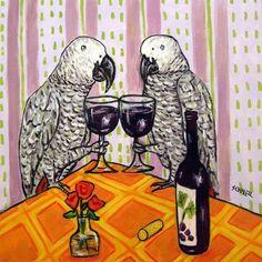 African Grey parrot at the Wine Bar Bird Art Tile by SCHMETZPETZ, $12.49